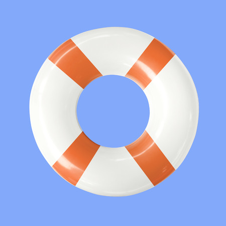 Life buoy or swim ring  isolated on blue background with clipping path. Stock Photo