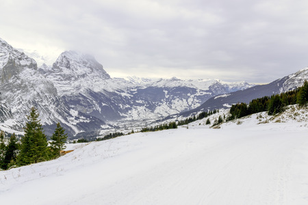 The view point of the Alps Mountains in winter ,Grindelwald Switzerland.
