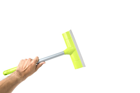 Glass cleaner tool in hand isolated on white background Stock Photo