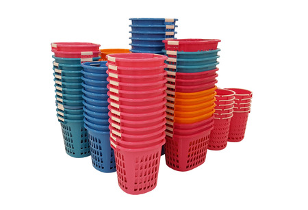 size distribution: Groups of plastic baskets isolated on white background with clipping path. Stock Photo