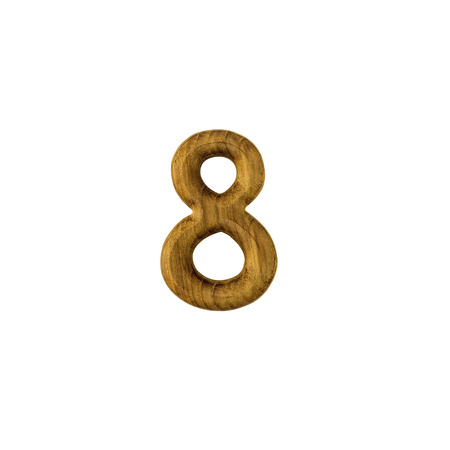 Decorative wooden alphabet digit eight symbol-8 isolated on white background-with clipping path.