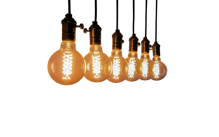 Group of Incandescent bulbs for home furnishings or restaurants style vintage isolated on white background. Stock Photo