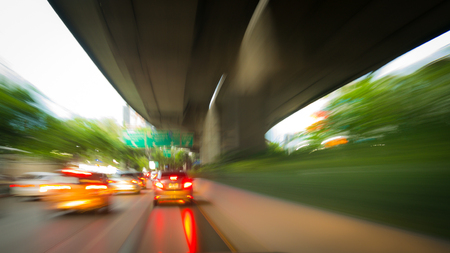 Abstract blurred of the car on the road at night time-Transportation concept. 스톡 콘텐츠