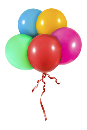 Group of colorful balloons with red ribbon isolated on white background