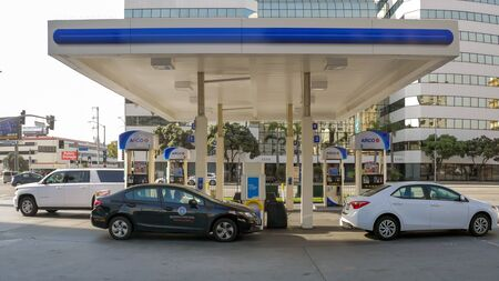 Los Angeles, CaliforniaUnited states Of America-April 6,2018: Self-service gas pump on the street W Century Blvd in Los Angeles. Redakční