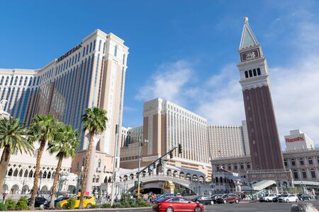 Las Vegas, NevadaUnited states Of America-April 13, 2018 The beauty of the architecture of the buildings, hotels and entertainment on Las Vegas Blvd Street is a beautiful landmark in the city of Las Vegas.