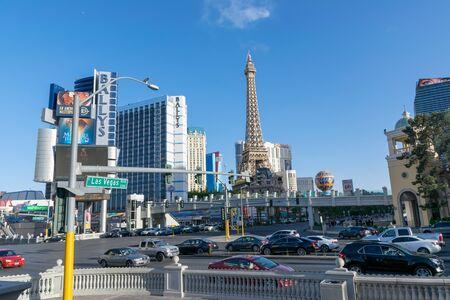 Las Vegas, NevadaUnited states Of America-April 13, 2018: The Eiffel Tower on Las Vegas Blvd Street is a beautiful landmark in the city of Las Vegas. Redakční
