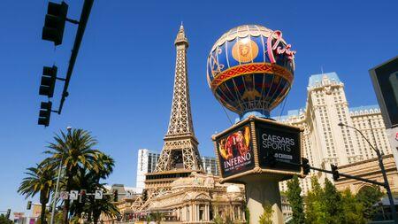 Las Vegas, NevadaUnited states Of America-April 9, 2018: The Eiffel Tower on Las Vegas Blvd Street is a beautiful landmark in the city of Las Vegas.