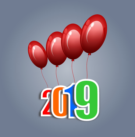 Red balloons tied with 2019 numbers floating up into the sky, vector illustration graphic design for news year background. Çizim