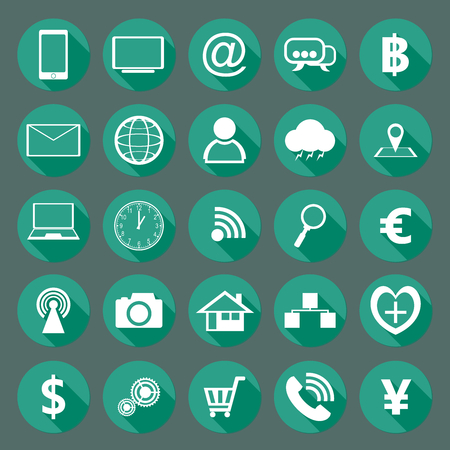 Modern design collection of flat icons with long shadows vector illustration graphic use for mobile applications and website