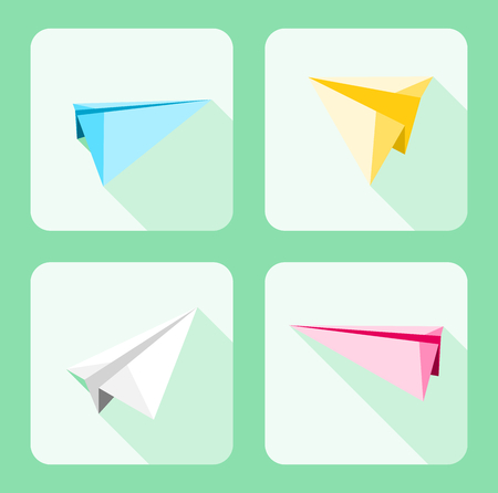Collection of paper airplanes graphic design with shadow and different colors on green background.