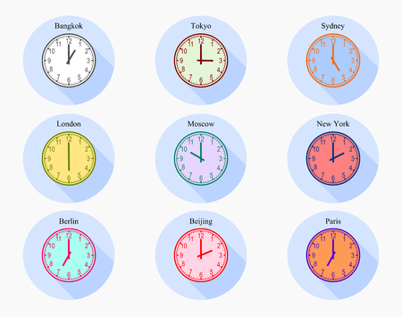 Set of analog clocks world zone time vector graphic design show the difference of time in different countries.