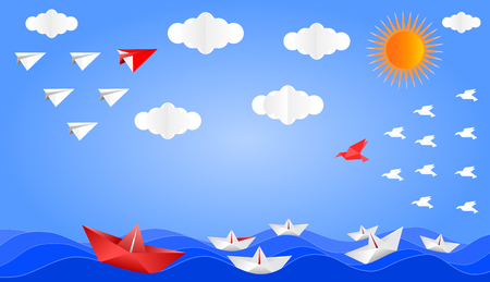 Plane, boat and bird folded from paper, The leader of the team is red, showing leadership and teamwork to achieve a business goal, vector illustration paper art style graphic design.