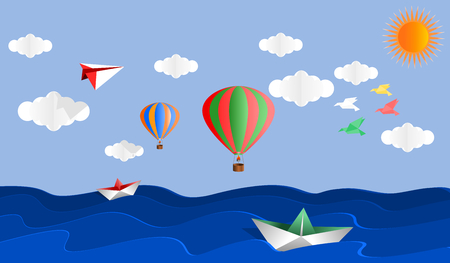 Panorama postcard group of origami paper art with balloons and seascape in the sunny day, paper art style vector illustration.
