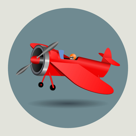 Vector illustration graphic design of the cartoon vintage airplane.