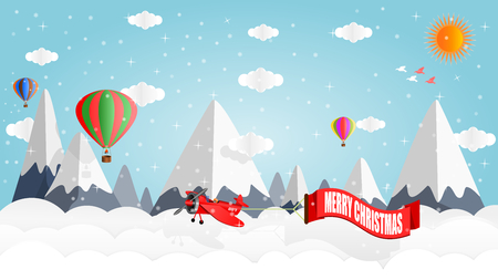 Airplanes and balloons float above the peak of snow-capped mountains in winter, during Christmas, vector illustration paper art style graphic design. Çizim