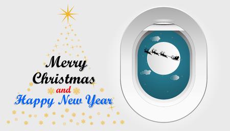 La conception graphique d'illustration vectorielle de Santa Cross est assise sur une motoneige avec un renne dans le ciel devant la pleine lune vue depuis la fenêtre d'un avion, concept pour le jour de Noël.