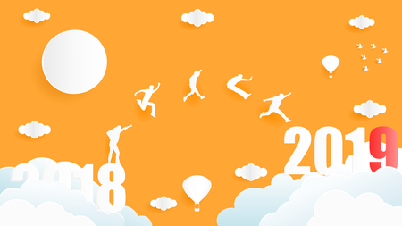 Vector illustration graphic design of group of people jumping from year 2018 to year 2019 over the sky, paper art style concept for 2019 new year. Çizim