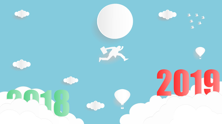 Vector illustration graphic design of business man jumping from year 2018 to year 2019 over the sky, paper art style concept for 2019 new year.