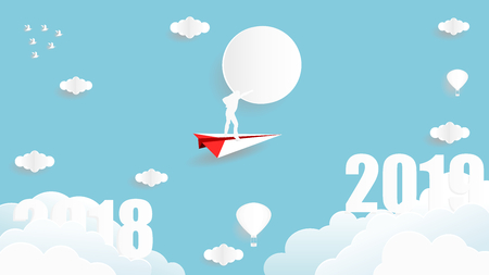 Vector illustration graphic design of business man standing on the paper plane flying from year 2018 to year 2019 over the sky, paper art style concept for 2019 new year.