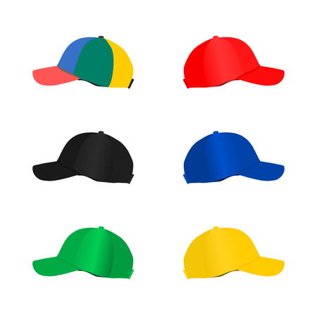 Collection of  fashion baseball cap isolated on white background, illustration vector design.