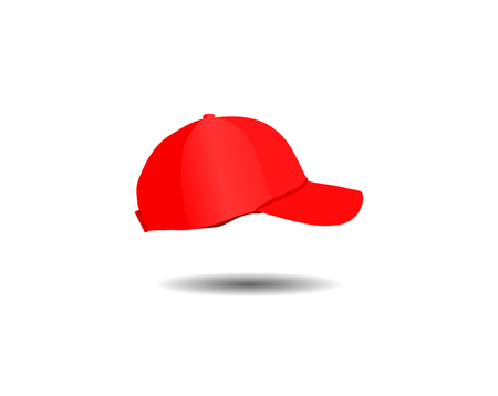 Red fashion baseball cap isolated on white background, illustration vector design.
