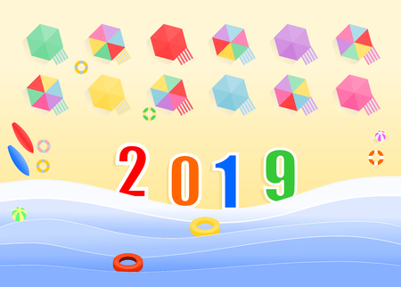 Top view of the 2019 numbers in the beach with swimmers equipment ,cribs and sunshades for tourists, illustration vector design for holiday and new year.