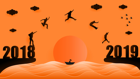 Vector illustration graphic design silhouette of group of people jumping from year 2018 to year 2019 over sunset at the sea, paper art style concept for 2019 new year.