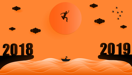 Vector illustration graphic design silhouette of young man jumping from year 2018 to year 2019 over sunset at the sea, paper art style concept for 2019 new year. Çizim