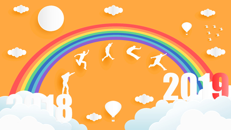 Paper art style vector illustration graphic design of group of people jumping from year 2018 to year 2019 over the sky under the rainbows.