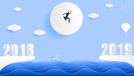 Paper art style vector illustration graphic design silhouette of young man jumping from year 2018 to year 2019 the sea.
