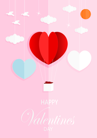 Paper art style vector illustration graphic design sweet valentines card on pink background. Çizim
