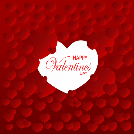 Vector illustration graphic design sweet valentines card by big white heart shape and many red hearts shape. Çizim