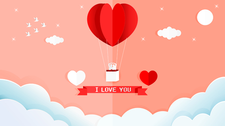 Paper art style vector illustration graphic design sweet valentines card of red heart shape balloon on the wall in the corner of the room. Çizim