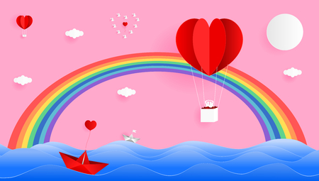 Paper art style vector illustration graphic design sweet valentines card of red heart shape balloon on the sky with beautiful rainbows over the sea.