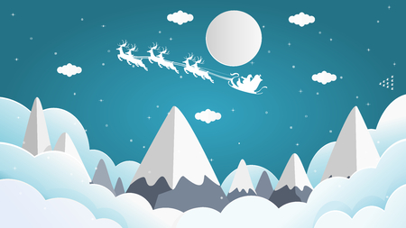 Vector illustration graphic design of Santa Cross sits on a snowmobile with a reindeer on the sky in front of the full moon on Christmas night with snow falling over the peek of the mountain.