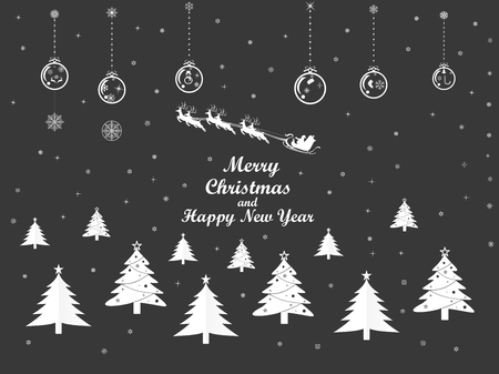 Vector illustration graphic design of group of Christmas and New years objects on black background. Çizim