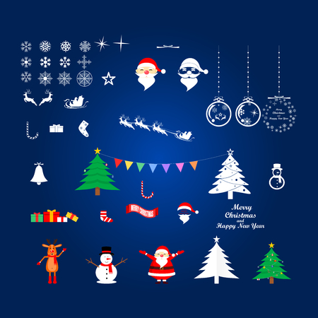 Vector illustration graphic design of group of Christmas and New years objects on blue background.