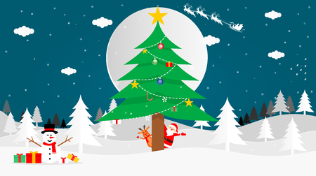 Vector illustration graphic design of Santa Cross, reindeer, Snowman and Christmas tree on the land of snow in front of the full moon on Christmas night with snow falling.