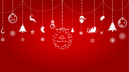 Vector illustration graphic design of group of Christmas and New years objects on red background. Çizim