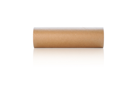 Cylindrical paper box for putting tennis balls or battling balls isolated on white background