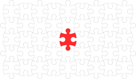 Vector illustration graphic design group of white jigsaws on red background. Çizim
