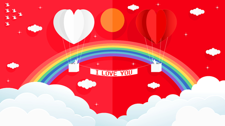 Paper art style vector illustration graphic design sweet valentines card of heart shape white and red balloon on the sky with beautiful rainbows.