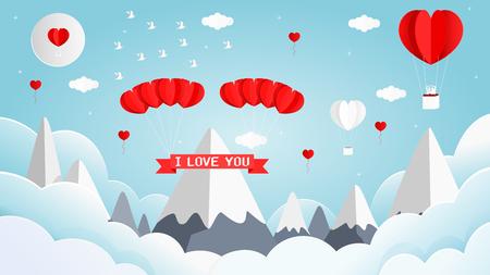 Papier art style vector illustration graphisme carte de Saint Valentin douce de forme de coeur ballon blanc et rouge sur le ciel.