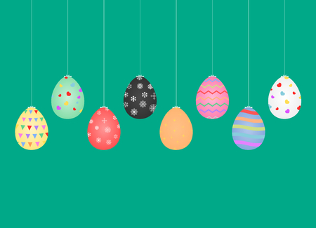 Vector illustration graphic design group of eggs emitted with beautiful colors, the symbol of Easter days.