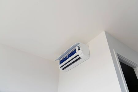 Wall mounted air conditioner, used for home or office. Stock Photo