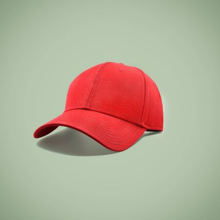 Fashion and sports red cap isolated on beautiful pastel color background, with clipping path.