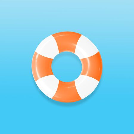 Lifebuoy for helping people in the water isolated on pastels color background, with clipping path. Imagens