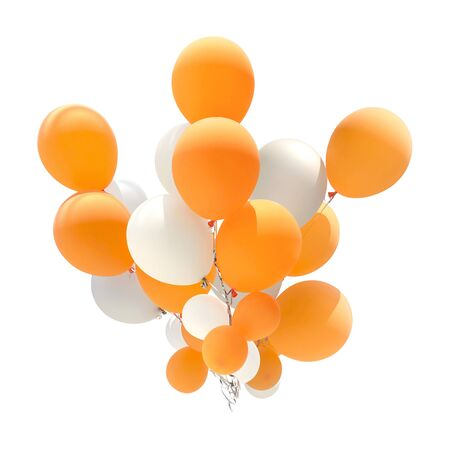 Group of orange and white color balloons for decoration in celebrations of various important days isolated on white background. Imagens