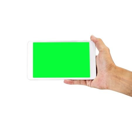 Hand holding smart-phone with green screen isolated on white background, with clipping path.